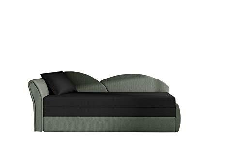 Sofa mit Schlaffunktion und Bettkasten, Couch für Wohnzimmer, Schlafsofa Federkern Sofagarnitur Polstersofa Wohnlandschaft mit Bettfunktion - ARGEA (Schwarz+Khaki (Alova 04+Alova 10), Sofa Links)