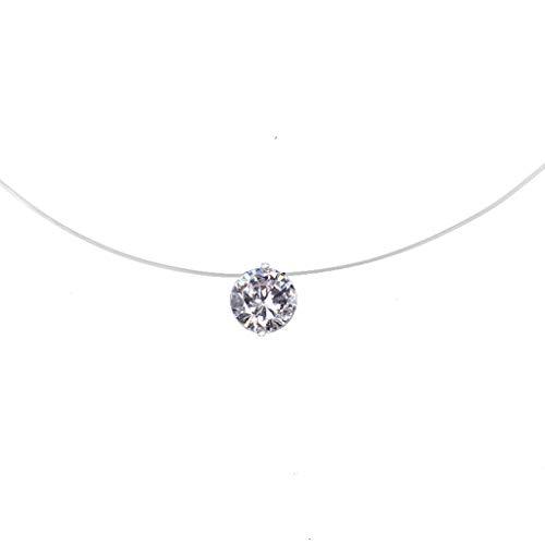 Ogquaton Collier de Haute qualité chaîne de la clavicule Dames 'Diamant Ligne de pêche Transparente Ronde zircone Simple Pendentif Cadeau présent Fille Populaire