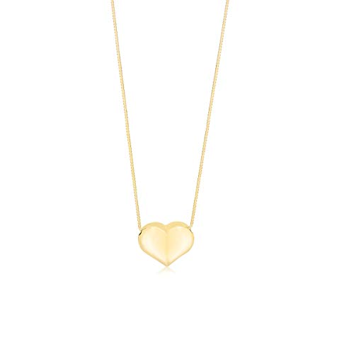 Unicornj Collar colgante de corazón flotante de hojaldre Oro amarillo de 14K con cadena de caja Italia 16'