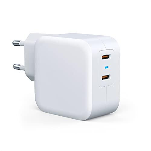 40W USB C Ladegerät - Dual USB C Netzteil,Schnellladegerät,Fast Charger PD&QC3.0 Wandladegerät, kompatibel mit iPhone 12/12 Pro/ProMax/12 Mini/SE 2020,Google Pixel 5,Nintendo Switch