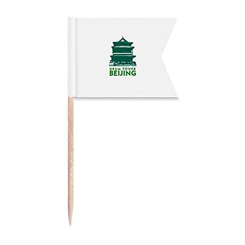 Tourismus Schlagzeugturm Peking China Zahnstocher Flaggen Markierung für Party Kuchen Lebensmittel Käseplatte