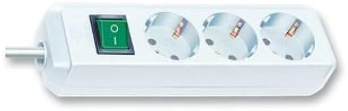 Brennenstuhl Eco-Line Steckdosenleiste 3-fach, Steckerleiste mit Kindersicherung, Schalter und 3m Kabel weiß