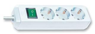 Brennenstuhl Eco-Line Steckdosenleiste 3-fach, (Steckerleiste mit erhöhtem Berührungsschutz, Schalter und 3m Kabel) weiß