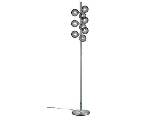 Trio Beleuchtung Dimmbare LED Design Stehleuchte in Silber Chrom glänzend mit Kugel Lampenschirm aus Rauchglas - mit dimmbaren G9 LED Leuchtmitteln