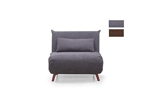CAMBIA TUS MUEBLES - Sofá Cama Pegaso Plegable, sofá butaca Individual con Pata de Madera y tapizado en Tela (Gris)