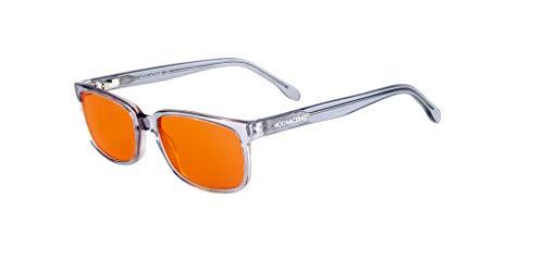 NOOHACKING - Gafas antiluz azul filtradas 100% – Anti Fatigga y protección de los ojos contra la luz artificial – Ideal para sueño (insomnio/biohacking/Gamers (53-18-140, gris)