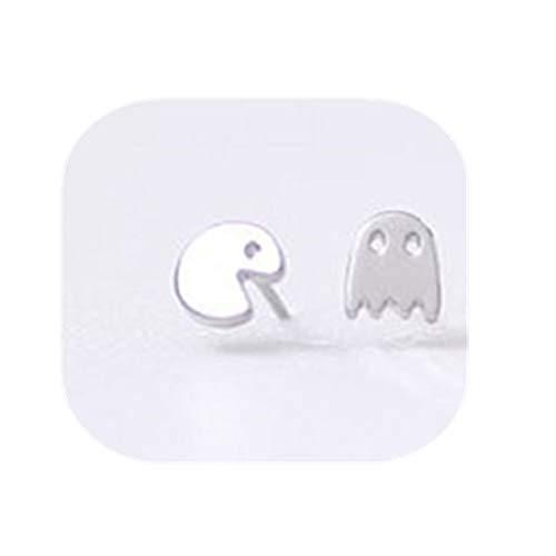 yichahu Juego de dibujos animados pequeños Pac Man pendientes de tuerca lindos animales fantasmas para mujer joyería pendientes de pendientes