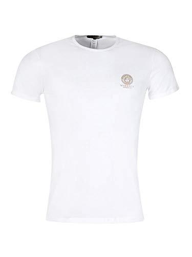 Versace Iconic Stretch-Baumwoll-T-Shirt mit Rundhalsausschnitt Gr. XXL, weiß