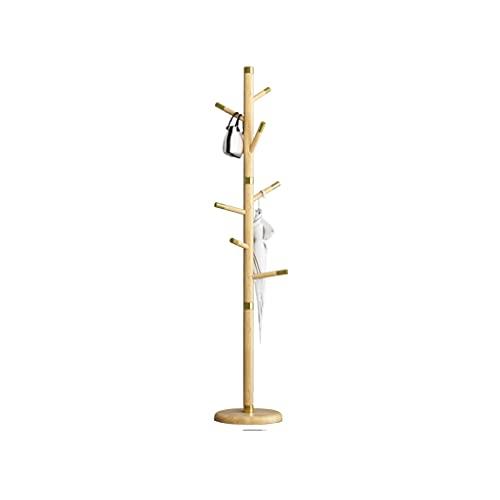 Perchero independiente de madera maciza, para entradas, pisos, entradas, árboles, prendas de vestir, dormitorio, oficina, percha (color: amarillo)