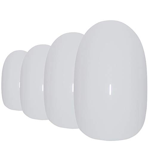 Falsche Nägel Bling Art Weiß Poliert Oval 24 Kunstnägel Mittel Tipps mit Kleber