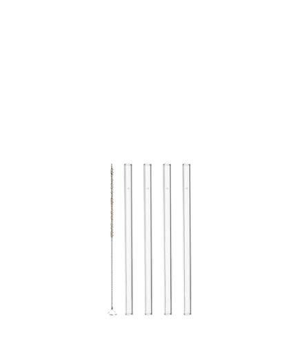 LEONARDO HOME Glas Strohhalme Ciao 4-er Set, Länge 15 cm, wiederverwendbar, inkl. Bürste zur Reinigung transparent, 020937
