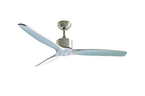 Ventilatore da soffitto d.132cm. 3 velocità con pale in legno naturale - Plikc àura wood (Shabby Chic)