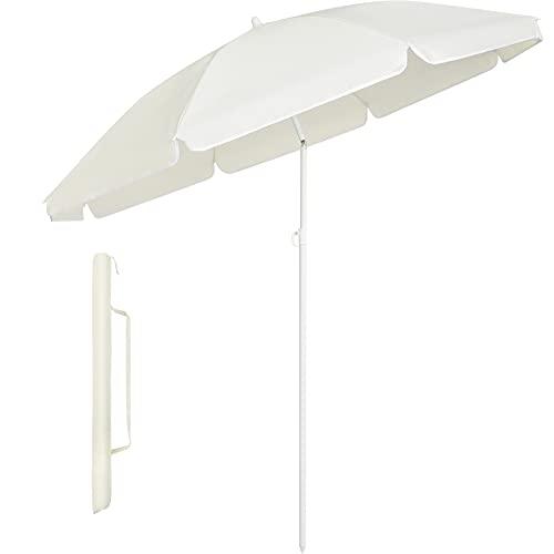 MVPower Parasol,sombrillas redondas de 160 cm plegables, sombrilla de mercado protección UV UPF 20+, sombrilla de jardín impermeable, para el jardín, balcón y terraza, 160 g/m²,Beige