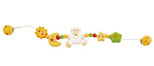 Bieco 44011004 Betty - Cadena de madera para carrito de bebé con diseño de la oveja Betty, para jugar y agarrar para niños desde el nacimiento, color blanco