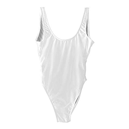 YUANYUAN520 Sexy Traje De Baño Sólido Mujeres De Una Pieza Traje De Baño De Alto Nivel De Baño De Verano Bajo Desgaste De La Playa (Color : White, Size : L.)