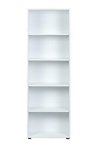 Inter Link Regal Bücherregal mit 5 Fächern Standregal Holzregal in Weiss