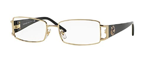Versace VE1163M 1252 52M Pale Gold Rectangle Eyeglasses For Women+FREE Complimentary Eyewear Care Kit