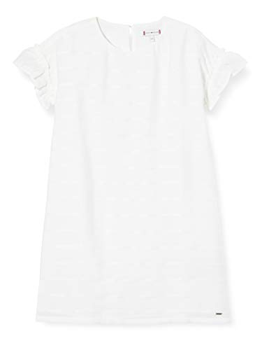 Tommy Hilfiger Eid Shift Dress S/s Vestido, Blanco (White Ybr), 14 años (Talla del Fabricante: 14) para Niñas