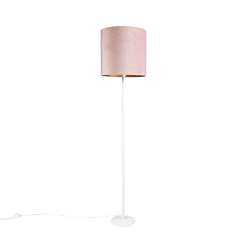 QAZQA Modern Vintage vloerlamp wit met oud roze kap 40cm - Simplo Stof/Staal Langwerpig Geschikt voor LED Max. 1 x 60 Watt