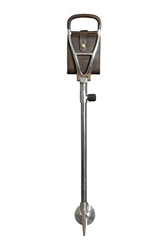 Polo Walking Seat Stick, Height Adjustable with Leather Sling Style Seat in Brown