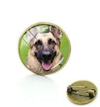Broche para perro con diseño de pastor alemán con bordes de cristal para hombres y mujeres