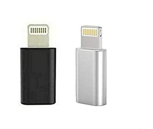 2 Pack Micro USB Hembra a iPhone convertidor de Adaptador Macho de 8 Pines para iPhone 6s 7 8 XR XS MAX