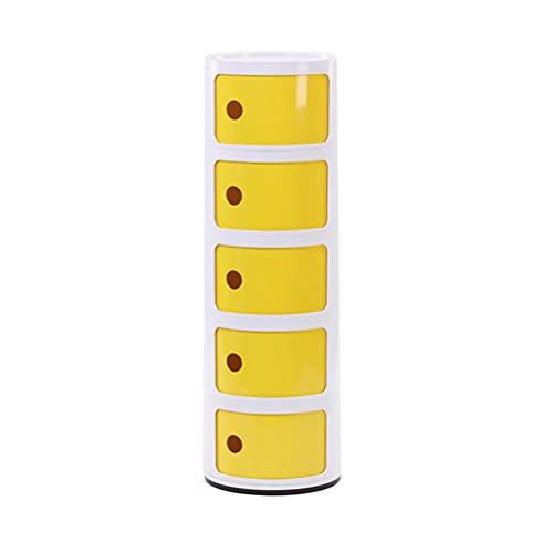 Moda Redonda Nightstand Café Tabla De Café 5-nivel Mesas De Alojamiento De Gran Capacidad Para Sala De Estar Para Sala De Estar Oficina Balcón Simple Muebles Multifunción(Color:blanco + amarillo)