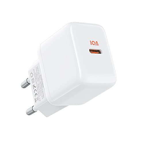 JSAUX 20W Cargador USB C,iPhone Cargador Rapido PD 3.0,Tipo C Cargador Rápido para iPhone 13/13 Mini/13 Pro/13 Pro Max/12/12 Pro/12 Mini/12 Pro Max/11/11 Pro/SE,iPad Pro Air,Pixel,Huawei,Xiaomi-Blanco