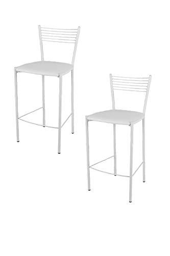 t m c s Tommychairs - Set 2 taburetes Elegance para Cocina y Bar, con Estructura en Acero Blanco y A