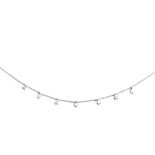 tailor13me Collar De Moda, Diseño De Estrellas De Cinco Puntas Colgante Gargantilla Collar De Cadena Regalo De Joyería De Boda para Mujer Chica Plata