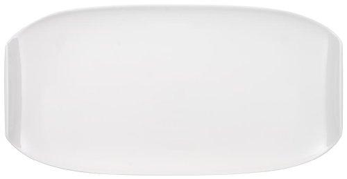 Villeroy & Boch - Plateau de Service Ovale Urban Nature avec Bord Surélevé en Porcelaine Premium Blanche, Compatible Lave-Vaisselle, 50 X 26 cm