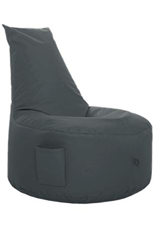 GlueckBean Hochwertiger Sitzsack mit Seitentaschen - Indoor & Outdoor - Gaming Sessel Sitzkissen mit Styroporkugeln Füllung - auch ideal für Kinderzimmer (Erwachsene, Anthrazit)
