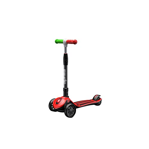 BIAOYU Scooter con ruedas de flash, scooter para niños de 4 alturas, ruedas LED de poliuretano extra anchas para niños que aprenden a dirigir (color rojo)