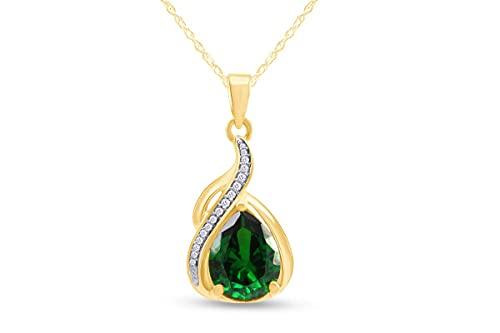 Jewel Zone US Green Emerald Pendant Necklace