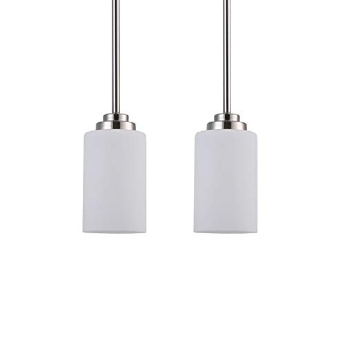 1-Light Mini Pendant Lighting Ceiling Fixture, 2 Pack Adjustable Lengths Pendant Light with Brushed Nickel Finish and Frosted Glass Shades Modern Hanging Pendant Lights for Kitchen Island Living Room