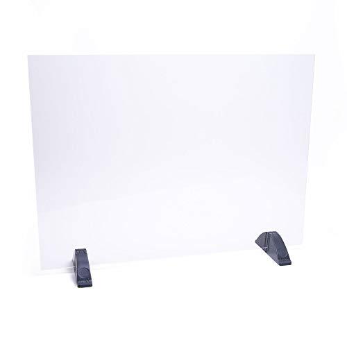 DHE Spuckschutz ohne Durchreiche, Hustenschutz Niesschutz Hygieneschutz, Thekenaufsatz Tischaufsatz Tresenaufsatz, Kunststoffglas, Größe: 67 x 50cm