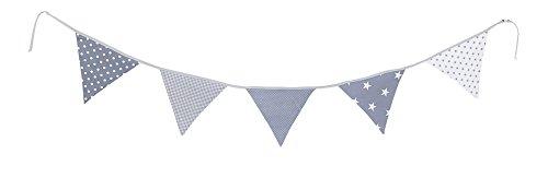 Guirnalda de banderines de ULLENBOOM ® con estrellas grises (guirnalda de tela: 1,90 m; 5 banderines; decoración para la habitación de los niños; fiestas de bienvenida para bebés)