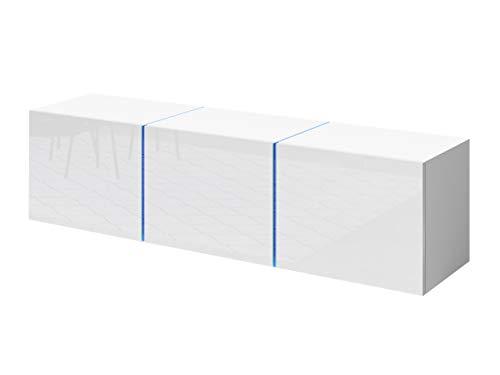Mirjan24 TV Lowboard Donna D01, Board, TV Schrank, Stehend oder Hängend, Farbauswahl, Fernsehtisch, Tisch, Fernsehschrank, TV-Bank (Weiß/Weiß Hochglanz, ohne LED Beleuchtung)