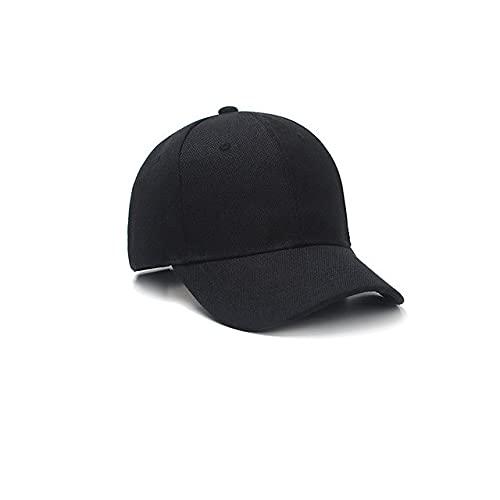Gorra de béisbol de Color sólido con Visera Curva para Hombre y Mujer-Black-Adjustable