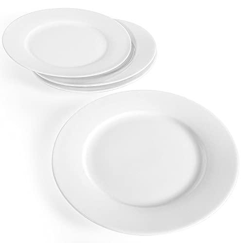 Artena White Dinner Plates Set of 4, 9 inch Salad Plates, Premium Porcelain Dessert Plates for Party, Restaurant, Holiday Plates for Appetizer, Serving Dishes for Pasta, Microwave Dishwasher Oven Safe