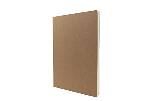 LayFlat Skizzenbuch – 14 x 21 cm – Kraftpapier blanko Notizbuch, 64 Blatt, dickes 100 g/m²-Papier