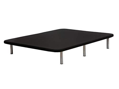 Base tapizada en 3D, Reforzada con 5 Barras transversales y Juego de 6 Patas metálicas. Cabeceroscamas.com (Negro, 105x200)