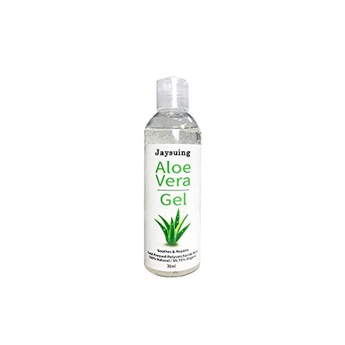 Aloe Vera Gel, Natürlich Aloe Vera Extrakt, Beruhigend und feuchtigkeitsspendend, Sonnenschutz und Selbstbräuner, für Gesicht, Körper, Sonnenbrand - 30ML