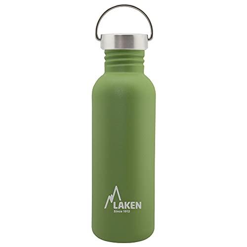 Laken Basic Botella de Acero Inoxidable con Tapón de Rosca Acero y Boca Ancha, 0,75L Verde Oliva