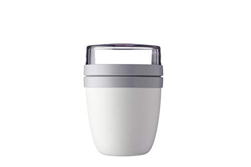 Mepal Lunch Pot weiß Lunchpot Ellipse Nordic 500 ml praktischer Müslibecher, Joghurtbecher, to go Becher – Geeignet für Tiefkühler, Mikrowelle und Spülmaschine, Polypropyleen (PP), PCTG, 10.7 cm