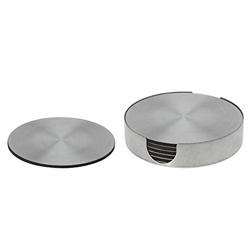Juego de 6 posavasos de cristal con soporte de acero inoxidable, para mesa y bar, diámetro de 10 cm, redondo