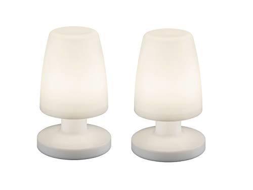 2er SET - OUTDOOR LED Tischleuchten für draußen Garten Dekoleuchte in Weiß mit USB Anschluß AKKU, Höhe 20cm