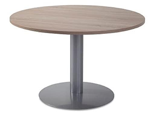 Mesa Profesional Reunión para Oficina. Diseño. Redonda. Color A Elegir. Medidas 110 cm.de diámetro por 74 cm. de Altura. Fabricado EN ESPAÑA. Entrega Express DE 3 A 5 DIAS HABILES. (Olmo-Aluminio) 🔥