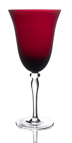 Novelty Rouge Red Hand Blown Goblet Wine Glasses, 12-Ounce (Set of 4)