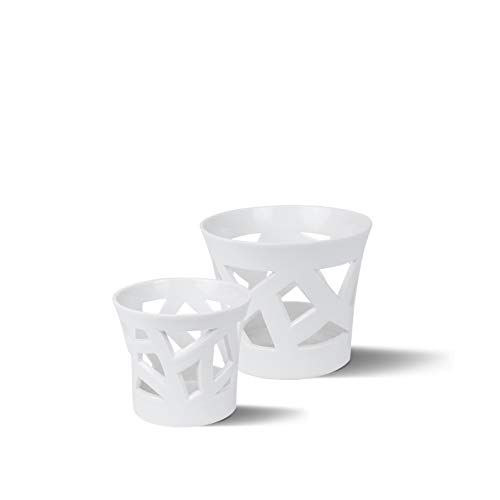 Berlin Teelicht-Set Porzellan von KPM Berlin - Teelichthalter - Teelicht - Handmade & als Geschenk verpackt - handausgeschnitten für die perfekte Tischdekoration - Weiß